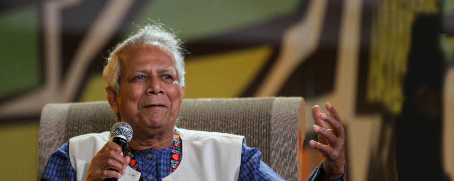 A picture of Mr Yunus, the inventor of micro-credits.